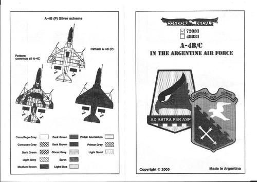 condor decals 72031 1/72 a-4 b / c fuerza aerea argentina