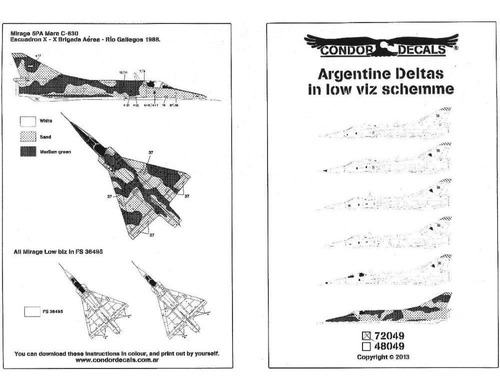 condor decals 72049 1/72 argentine deltas in low viz schemme