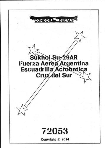 condor decals 72053 1/72 su-29 ar cruz del sur fuerza aerea
