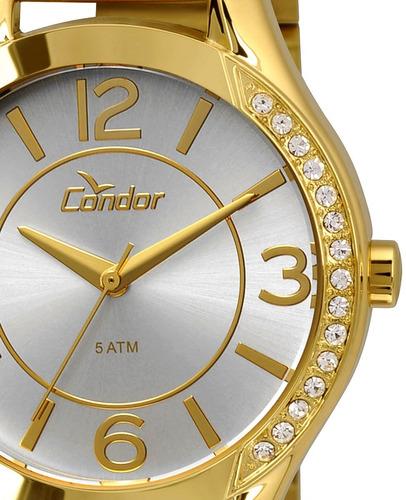 d733eb1dee0 Relógio Condor Feminino Dourado Strass Ref  Co2035krg 4b - R  184