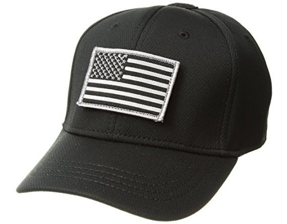 Condor Flex Tactical Cap (negro) + Cosido Bandera Y Patch Gu