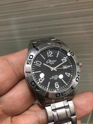 condor original kc20332 relógio masculino em aço sem juros