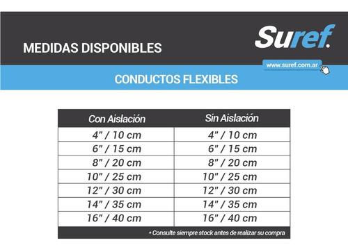 conducto flexible 8 / 20 cm con aislacion largo 7,5 metros