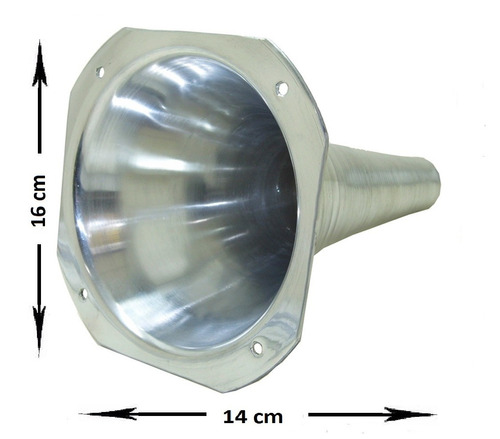 cone corneta canequinho aluminio polido parafuso ou rosca