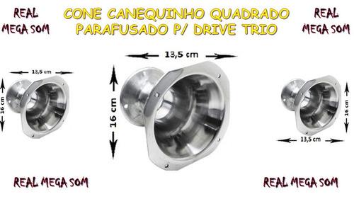 cone corneta jarrão canequinho aluminio polido parafusado