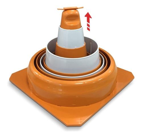 cone de sinalização retrátil com placa de sinalização atençã