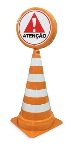 cone de sinalização segurança retratil com placa de atenção