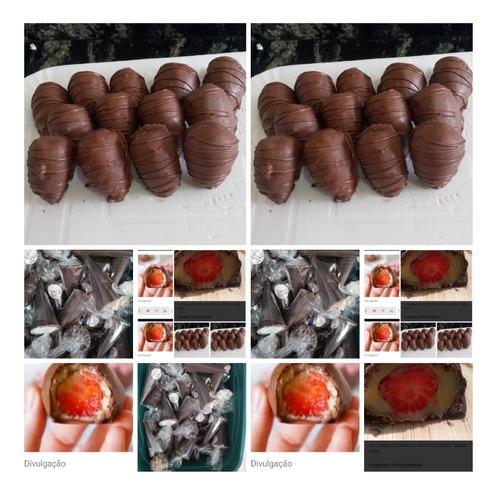 cone trufados e bombom de morangos