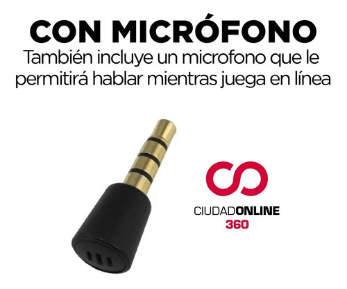 conector auriculares gamer micrófono bluetooth pc switch ps4