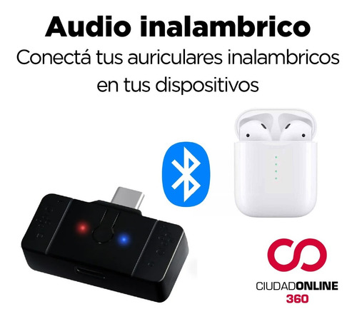 conector auriculares gamer micrófono bluetooth ps4 pc switch