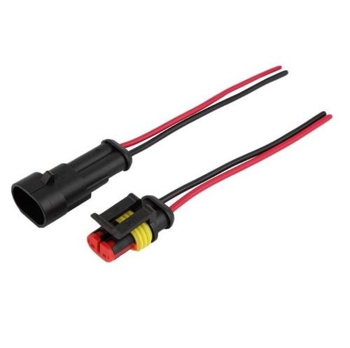 conector automotivo 2 vias impermeável selado c/ fio montado