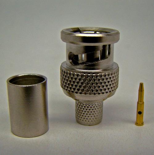 conector bnc macho pino solto p/ cabo rg-59 crimp malha 10un