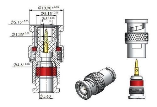 conector bnc rg 58  macho para cabo coaxial rg58  e rgc58