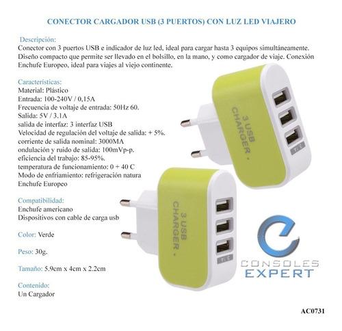 conector cargador usb (3 puertos) con luz led europeo