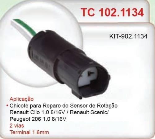 conector chicote sensor de rotação peugeot 206 1.0 8v, 16v