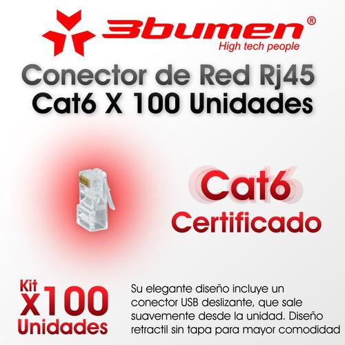 conector de red rj45 cat6 x 100 unidades 3bumen certificado