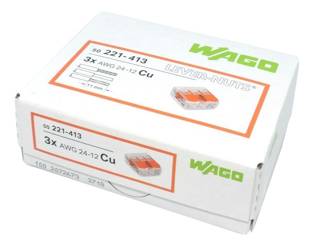 50 conectores de palanca compactos de 3 v/ías para Wago 221-413