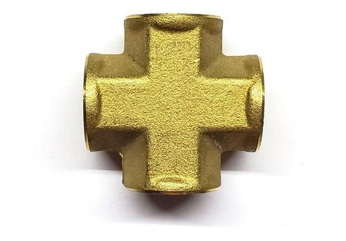 conector en cruz hembra, latón (dorado) de 1/4  npt
