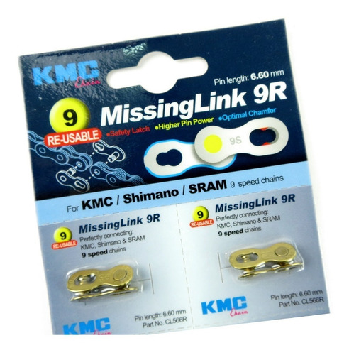 conector eslabon missing link kmc 9 veloc. reusable