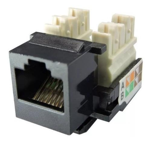 conector femea rj45 keystone cat 5e preto kit 10 unidades