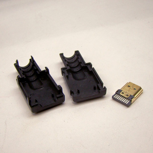 conector hdmi macho gold solda placa capa plastica kit c/ 2
