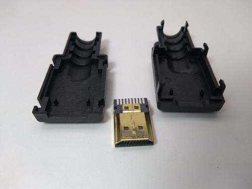 conector hdmi macho gold solda placa com capa plastica