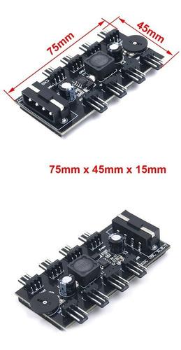 conector hub 8 canal splitter ventilador 3pin cpu molex 4pin