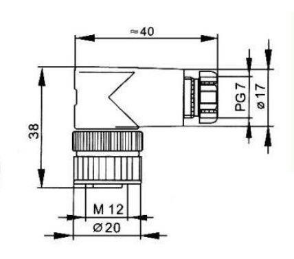 conector m12 4 pinos femea montável para sensor