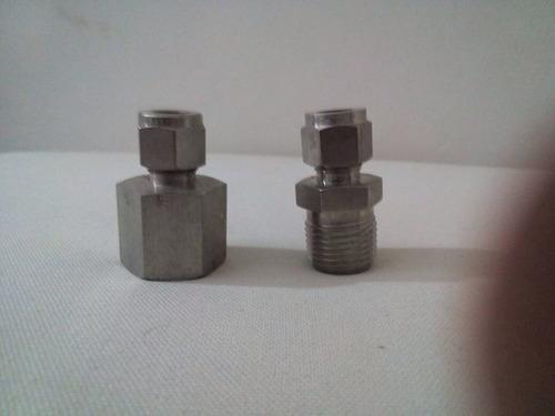conector macho o hembra de acero inoxidable 3/8od x 1/2npt
