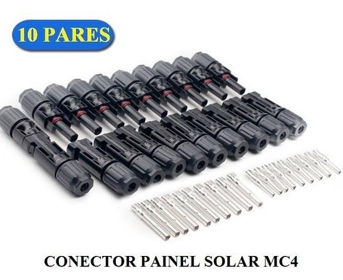conector mc4 para painel solar fotovoltaico (10 pares)