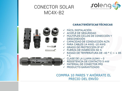 conector panel solar union mc4 30a (par macho  hembra) promo