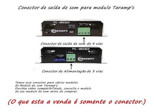 conector para modulo taramps 4 vias saida stereo 3 vias