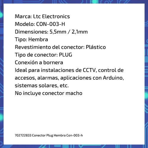 conector plug hembra con-003-h