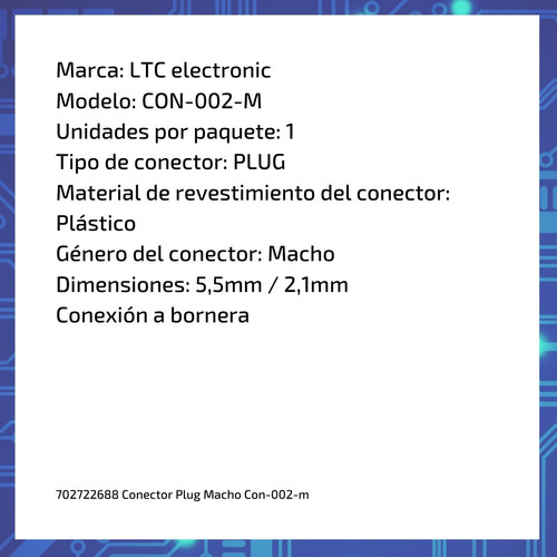 conector plug macho con-002-m