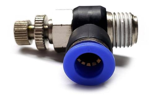 conector /regulador de caudal neumático codo 1/4 npt x 8 mm