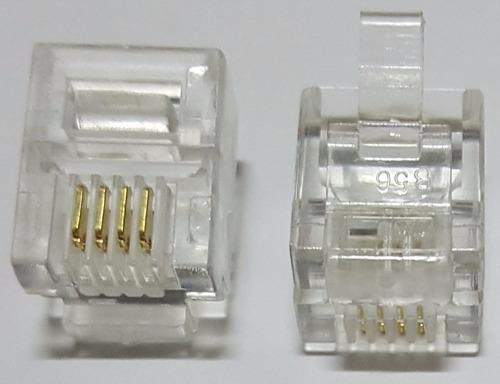 conector rj11 4 vias 6x4 6p4c plug p/ telefone c/ 1000 peças