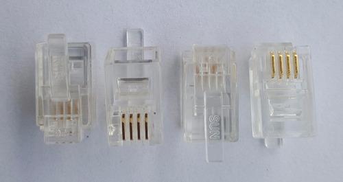 conector rj12 4 vias 4x4 4p4c plug p/ monofone c/ 100 peças