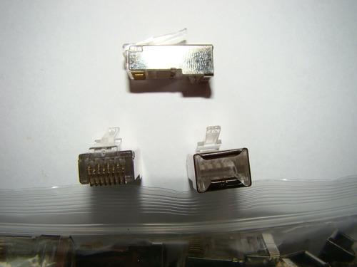 conector rj45 cat-5 o cat-6 blindado 100unids c&tv americano