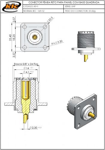 conector uhf fêmea reto base quadrada fixação em painel kf-1