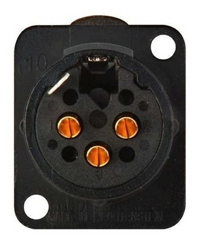 conector xlr 3p macho painel nc3md-l-1-b black gold neutrik