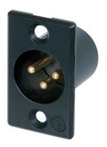 conector xlr 3p macho painel nc3mp-b black neutrik novo