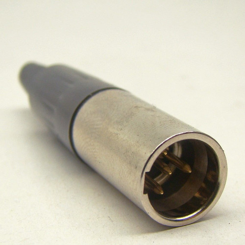 conector xlr mini 4  pinos macho prata amphenol