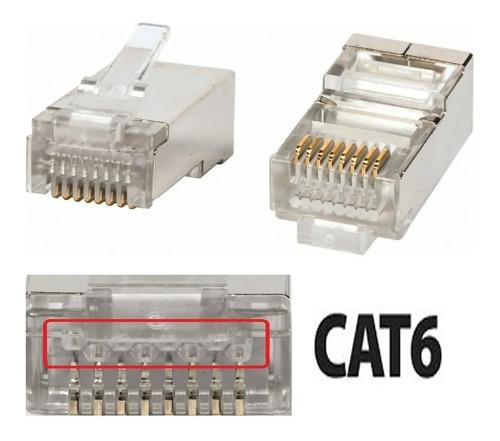 conectores rj45 cat6  bolsa x 50 redes lan cableado