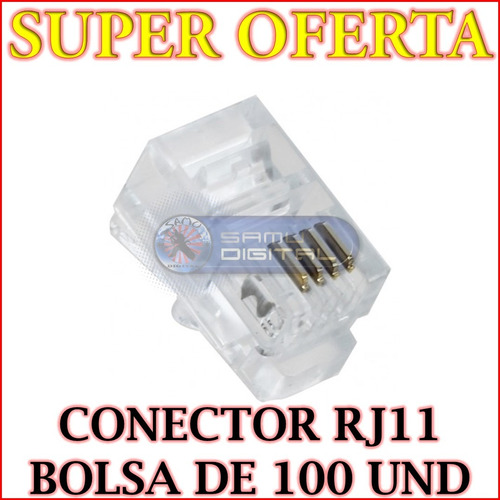 conectores telefónicos rj11 bolsa de 500 unidades oferta!!