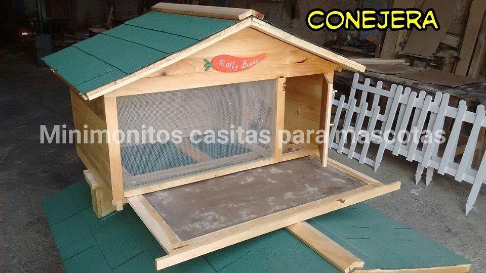 Conejera casa para conejo casa de madera 3 en - Casa conejo ...