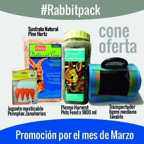 conejo pack( transportador, alimento, juguete y sustrato)