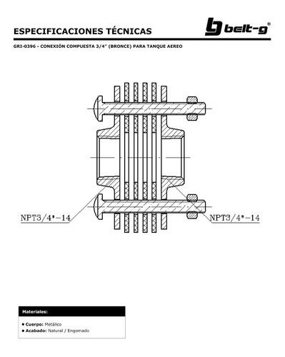 conexion compuesta 3/4  bronce tanque aereo  belt-g gri-0396