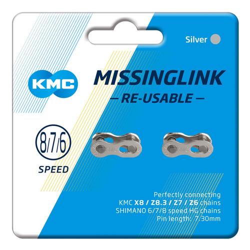 conexión/eslabón cadena kmc cl573r 6/7/8 plata 2p