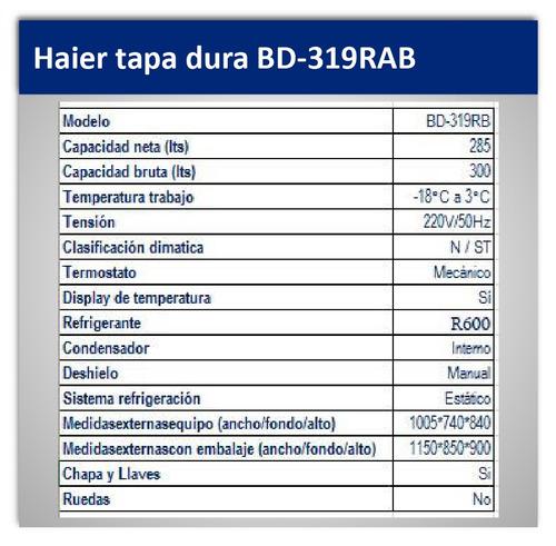 congeladora horizontal haier  bd-319rb