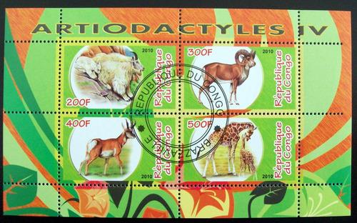 congo fauna bloque 4 sellos artiodactyles 4 2010 usado l6640